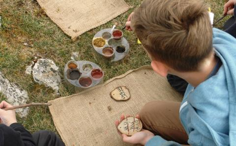 Sanford Primary School outdoor art class © Mendip Hills AONB Unit