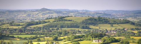 View out towards Glastonbury Tor © Paul Miles/Greentraveller